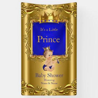 Banner Prince Baby Shower Blue Gold Brunette 2