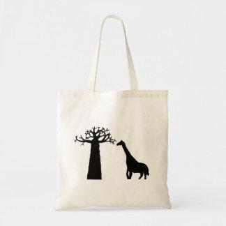 Baobab und Giraffe Tragetasche