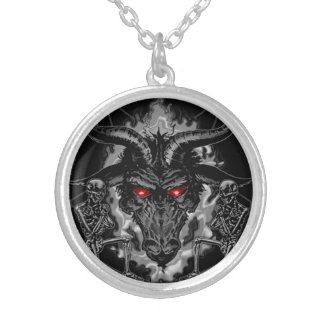 Baphomet Pentagram-Schwarz-Metall Versilberte Kette