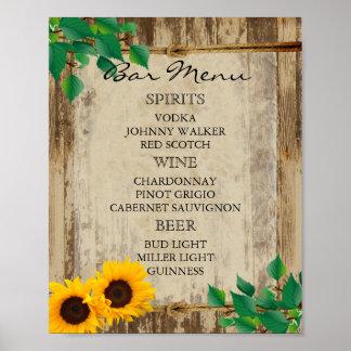Bar-Menü für eine Hochzeit - Sonnenblume Poster