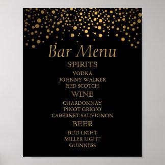 Bar-Menü für eine Hochzeits-Goldfolien-Punkte Poster