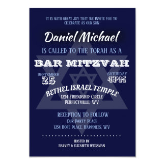 Bar Mitzvah Blau-Typografie Karte