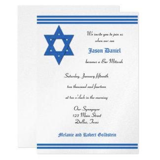 Bar Mitzvah Einladung - silberne metallische laden