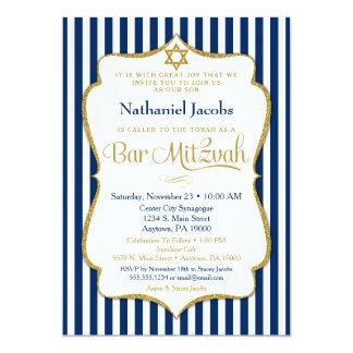 Bar Mitzvah Einladungs-Marine-Blau-Gold elegant 12,7 X 17,8 Cm Einladungskarte