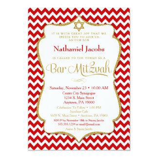 Bar Mitzvah Einladungs-rotes Goldelegantes 12,7 X 17,8 Cm Einladungskarte