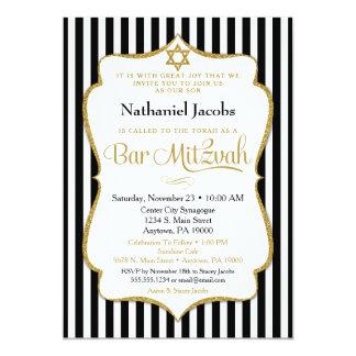Bar Mitzvah Einladungs-Schwarz-Goldeleganter 12,7 X 17,8 Cm Einladungskarte