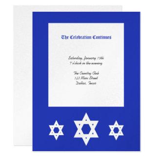 Bar Mitzvah Empfangs-Einladung - silbernes 10,8 X 14 Cm Einladungskarte