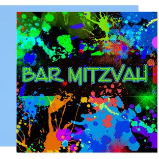 Bar Mitzvah, Farben-Spritzer, Party Einladung