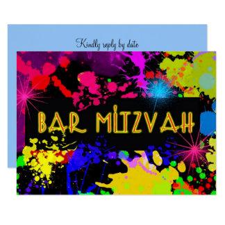 Bar Mitzvah, Neonfarben-Spritzer, Gewohnheit Karte