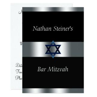 Bar Mitzvah, Schwarzes und Silber, elegante Karte