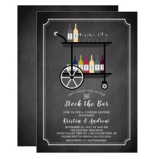 Bar-Wagen-Vorrat die Bar-Paar-Duschen-Einladung Karte
