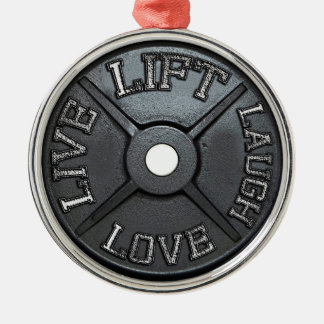 Barbell-Platte - heben Sie an, Live, Liebe, Lachen Silbernes Ornament