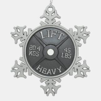 Barbell-Platte - heben Sie schweres an Schneeflocken Zinn-Ornament
