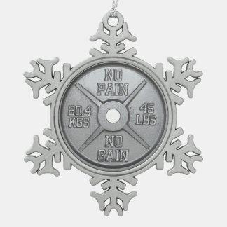 Barbell-Platte - keine Schmerz kein Gewinn Schneeflocken Zinn-Ornament