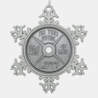 Barbell-Platte - tun Sie Sie sogar Aufzug Schneeflocken Zinn-Ornament