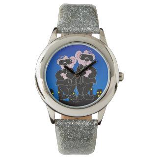 BÄREN im SCHWARZEN CARTOON Silber-Glitter Uhr