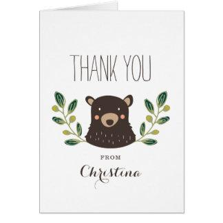 Bärenjunges danken Ihnen zu kardieren Mitteilungskarte