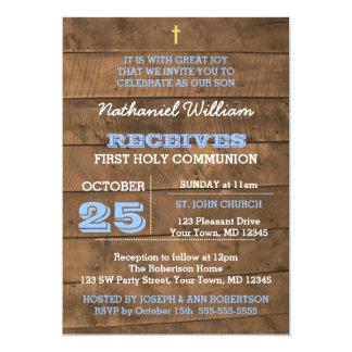 Barnwood Blau-erste Kommunions-Einladung Karte