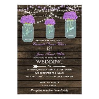 Barnwood, lila Maurerglas-Hochzeitseinladungen Personalisierte Ankündigungskarte