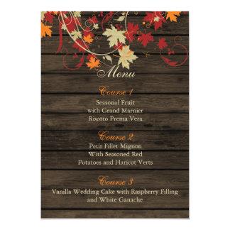 Barnwood rustikal, Herbstlaub, der Menükarten 12,7 X 17,8 Cm Einladungskarte