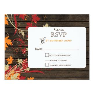Barnwood rustikal, Herbstlaub, der UAWG wedding 10,8 X 14 Cm Einladungskarte