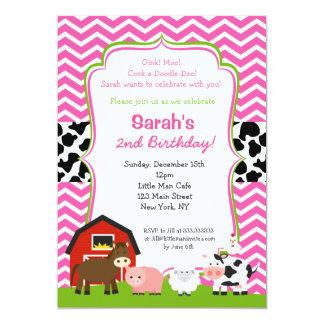 Barnyard-Geburtstags-Party Einladungen für Mädchen