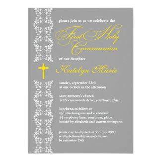 Barocker grauer Streifen-erste heilige Kommunion 11,4 X 15,9 Cm Einladungskarte