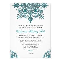 Barockes Türkis-Glitter-Blick-Feiertags-Party Personalisierte Ankündigungskarten
