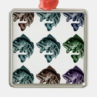 Barschangeln Quadratisches Silberfarbenes Ornament