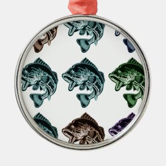 Barschangeln Rundes Silberfarbenes Ornament