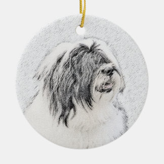 Bärtiger Collie Keramik Ornament