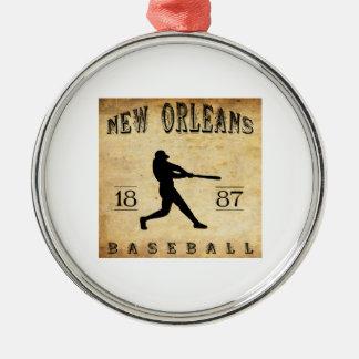 Baseball 1887 New Orleans Louisiana Rundes Silberfarbenes Ornament