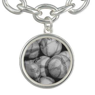 Baseball in Schwarzweiss Charm Armbänder