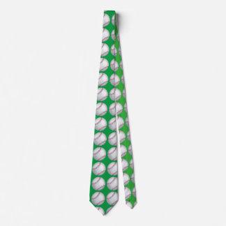 Baseball-Kunst-Muster-Grün-Krawatte Individuelle Krawatten