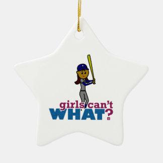 Baseball-Mädchen im Blau Keramik Stern-Ornament