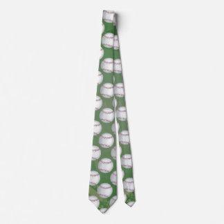 Baseball-Muster auf Grün Personalisierte Krawatte