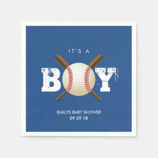 Baseball-Thema-Baby-Marine-Blau-Babyparty Servietten