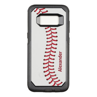 Baseballnahtmuster-Namenmonogramm OtterBox Commuter Samsung Galaxy S8 Hülle