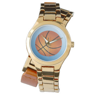 Basketball-Ikonen-Blau-Hintergrund Uhr