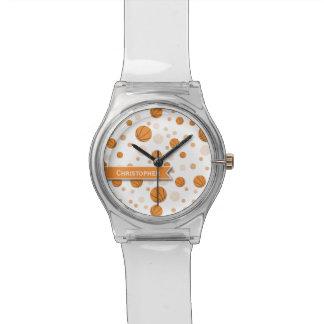 Basketball-Muster auf Weiß Uhr
