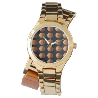 Basketballs-on_Black, _Ladys_Gold_Wrap_Watch. Armbanduhr