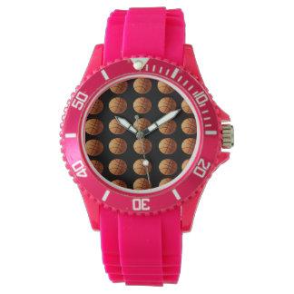 Basketballs-on_Black, _Ladys_Pink_Sports_Watch. Uhr