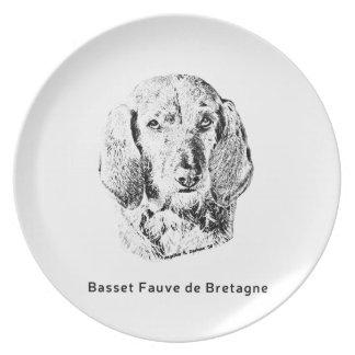 Basset Fauve de Bretagne Drawing Flacher Teller