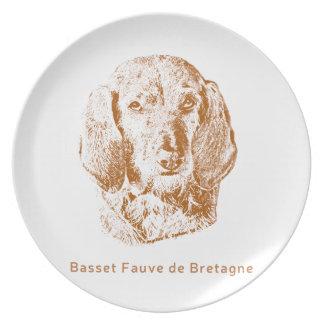 Basset Fauve de Bretagne Flache Teller