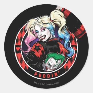 Batman | Harley Quinn, der mit Holzhammer blinzelt Runder Aufkleber