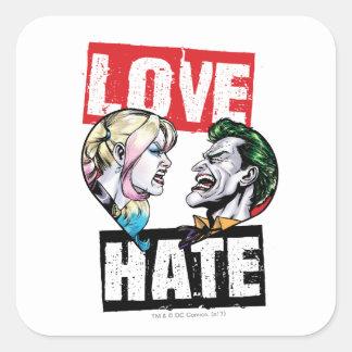 Batman | Harley Quinn u. Joker-Liebe/Hass Quadratischer Aufkleber