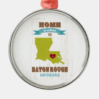 Baton-Rouge, Louisiana Karte - Zuhause ist wo Rundes Silberfarbenes Ornament