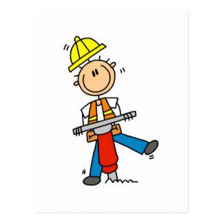 Bau-Arbeitskraft mit Jack-Hammer Postkarte