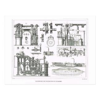 Bau der Dampfer Postkarte