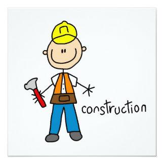 Bau-Strichmännchen Individuelle Ankündigungskarte